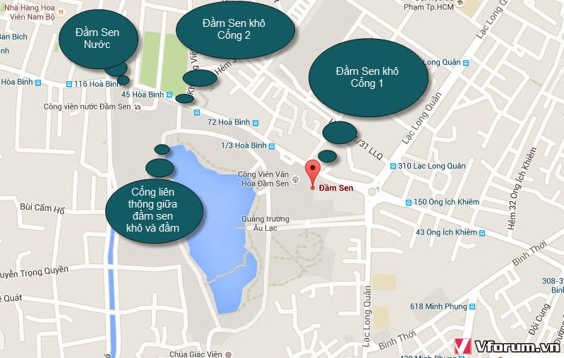 Bản đồ khu vực Công viên Đầm Sen