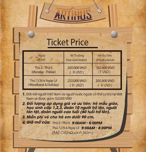 Giá vé tham quan bảo tàng 3D Artinus