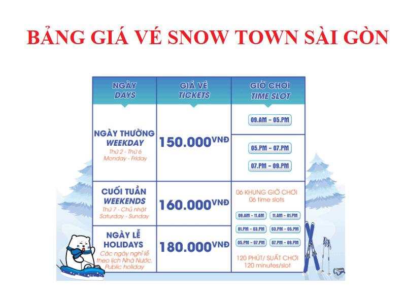 Bảng giá vé Snow Town