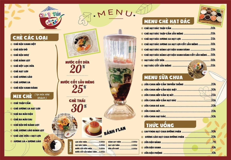 Hình menu của quán chè Ý Vân