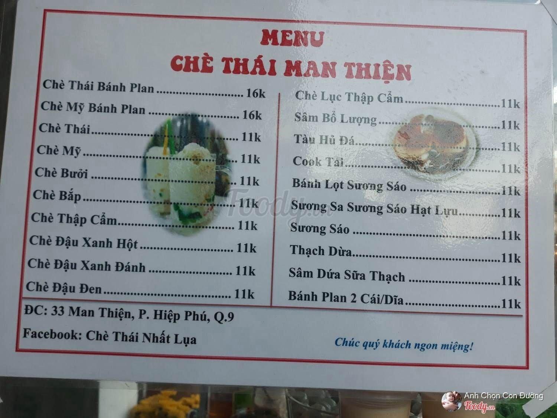 Menu của quán chè Thái Man Thiện